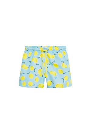 zwemshort met citroen print lichtblauw/geel