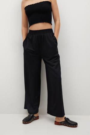 high waist wide leg broek in jersey zwart