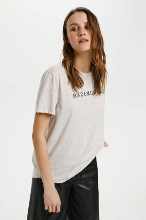 T-shirt Hosielle met tekst licht taupe melange