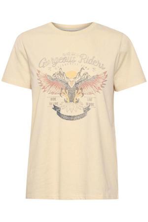 T-shirt Iliva met printopdruk lichtgeel