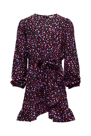 jurk KONSOLVEIG met all over print en ceintuur zwart/roze/rood
