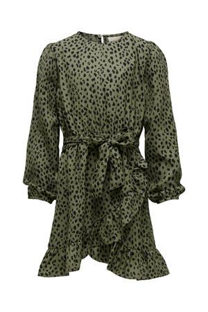 jurk KONSOLVEIG met all over print en ceintuur donkergroen/zwart