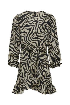 jurk KONSOLVEIG met zebraprint en ceintuur taupe/zwart