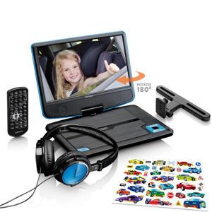 """Draagbare 9"""" DVD speler met beugel en hoofdtelefoon - Blauw"""