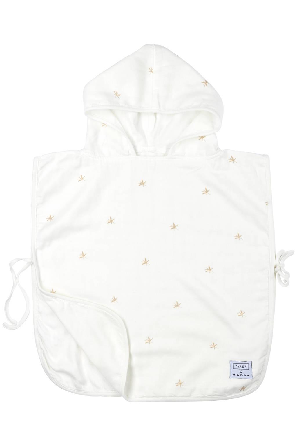 Meyco X Mrs. Keizer hydrofiele badponcho Ibiza wit/warm zand, Wit/warm zand