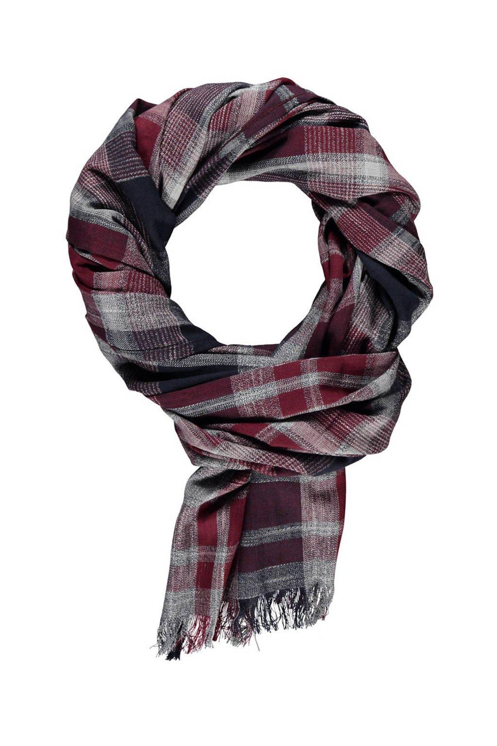 LERROS geruite sjaal donkerrood, Donkerrood