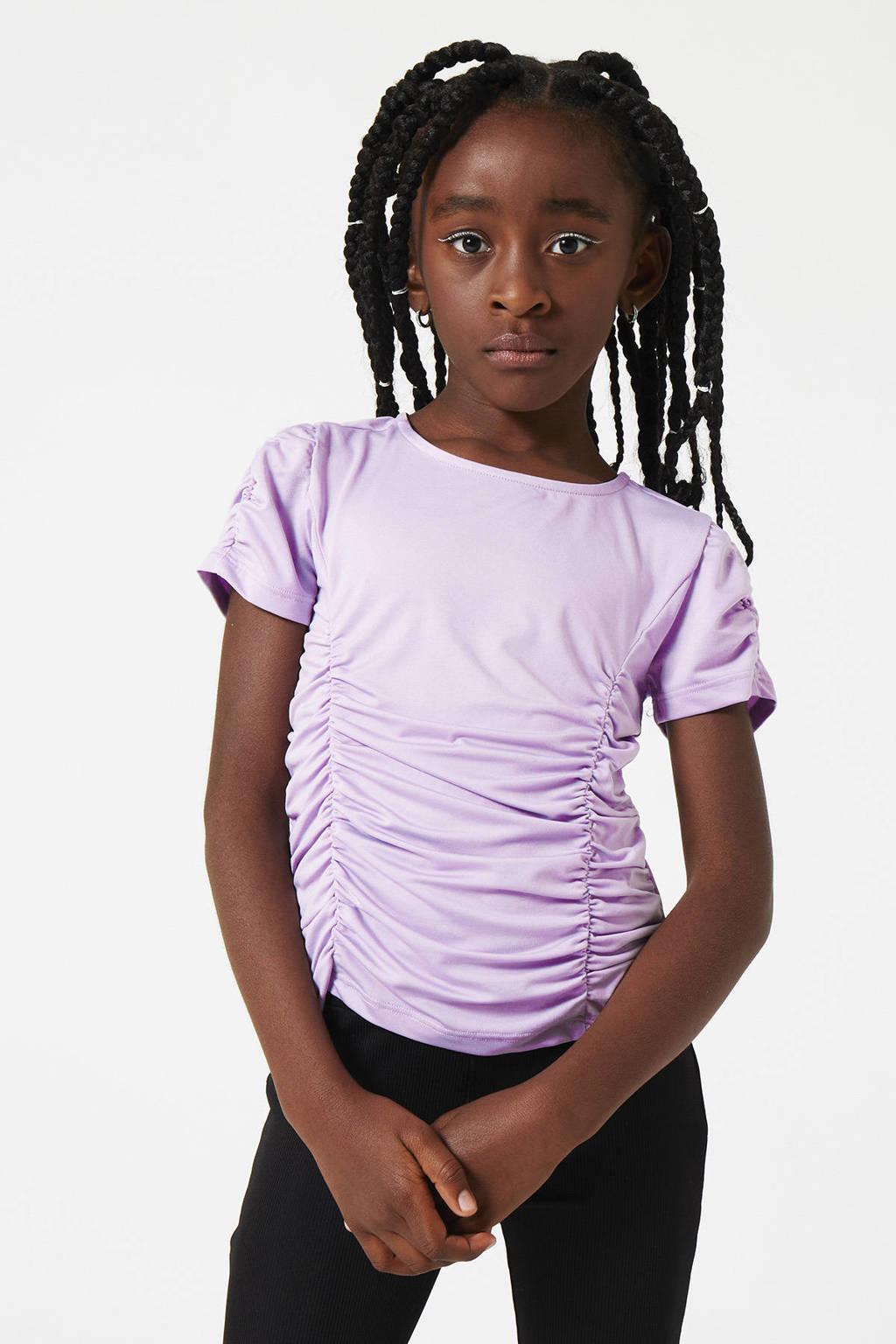 CoolCat Junior T-shirt Elijn met plooien lila, Lila