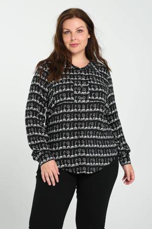blouse met all over print zwart/wit
