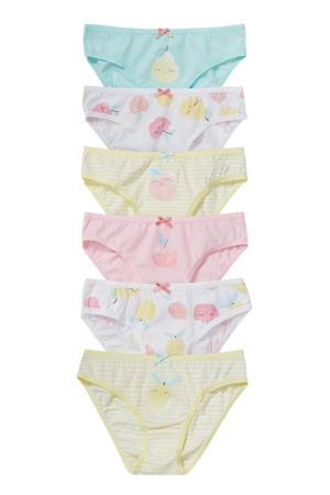 slip - set van 6 geel/wit/roze/groen