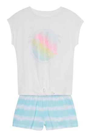 shortama met knoopdetail - wit/lichtblauw