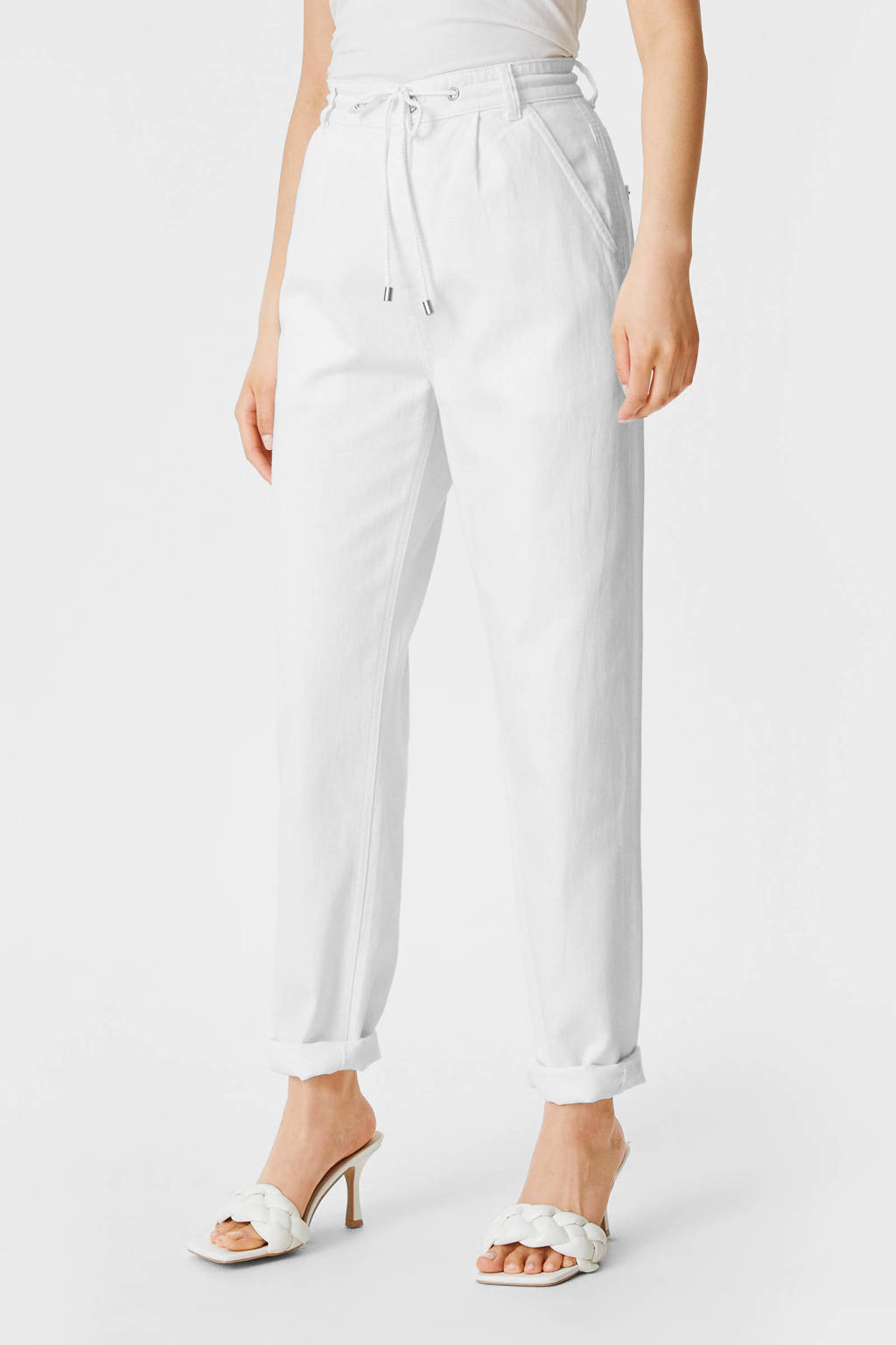 C&A Yessica high waist tapered fit pantalon wit, Wit