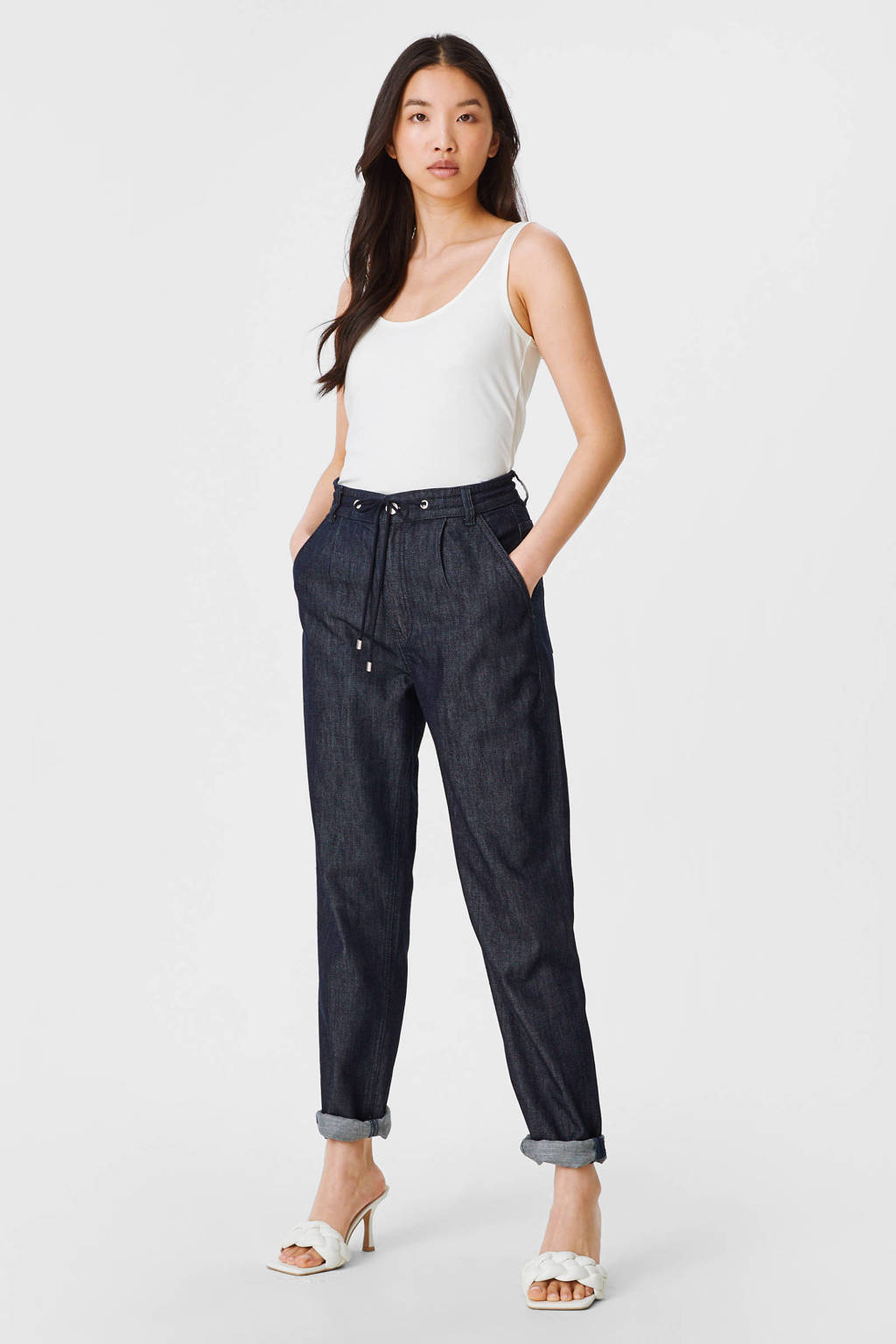 C&A Yessica high waist tapered fit pantalon donkerblauw, Donkerblauw