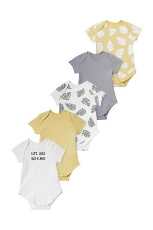 romper - set van 5 geel/wit/grijs