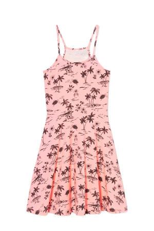 jurk met all over print en plooien roze