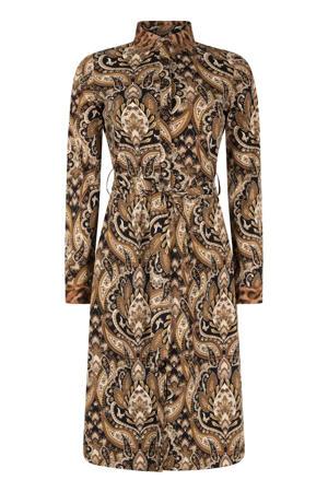 blousejurk van travelstof met all over print bruin/zwart