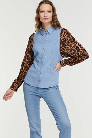 blouse met dierenprint light denim/bruin/zwart