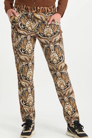 skinny broek van travelstof bruin/zwart