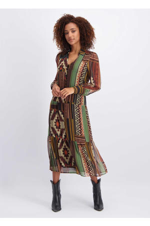 semi-transparante jurk met all over print multicolor