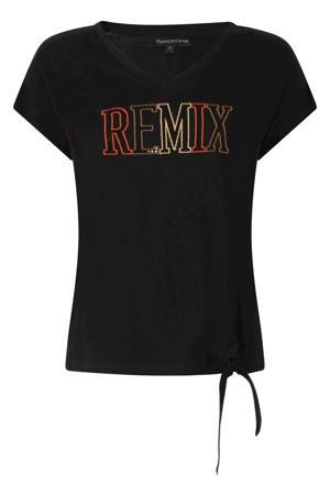 T-shirt met tekst en pailletten zwart