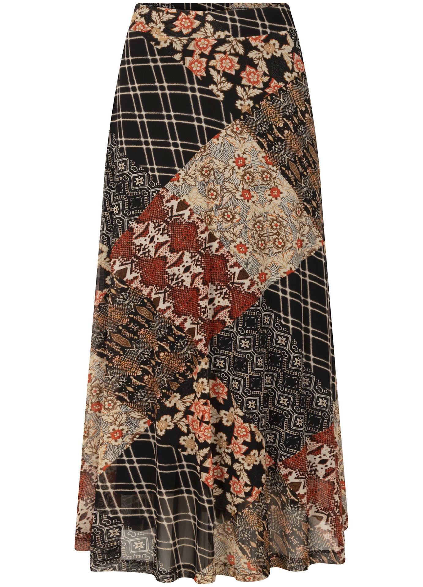 Tramontana midi rok met all over print zwart/beige/rood online kopen