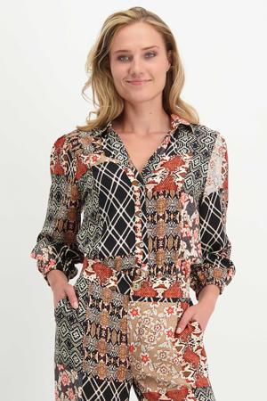 blouse met all over print zwart/beige/rood