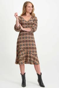 Tramontana jurk met slangenprint beige/roodbruin