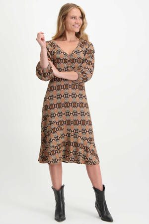 jurk met slangenprint beige/roodbruin