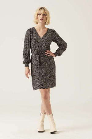 jurk met all over print en ceintuur zwart/beige