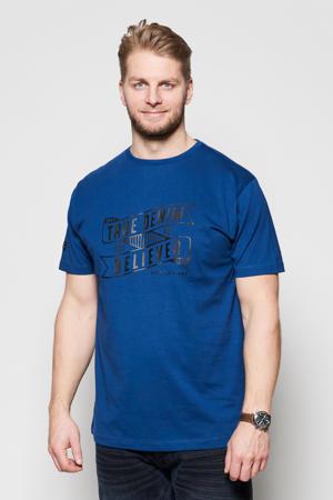 +size T-shirt met printopdruk indigo blue