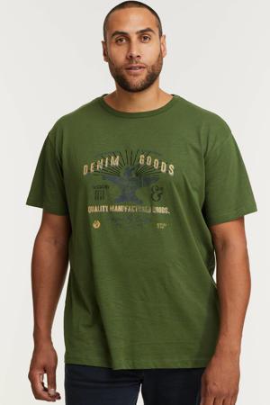 +size T-shirt met printopdruk dark green