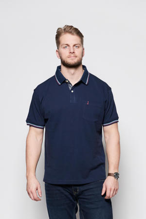 +size polo Plus Size met contrastbies donkerblauw