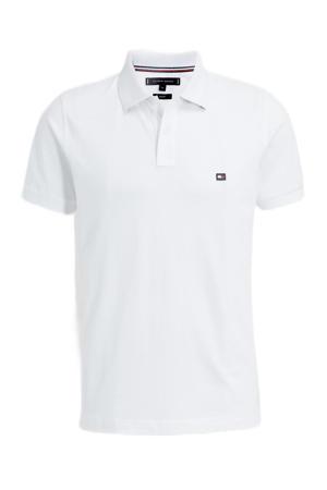 slim fit shirt met contrastbies wit