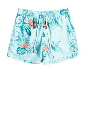 gebloemde zwemshort Paradise Express lichtblauw/turquoise