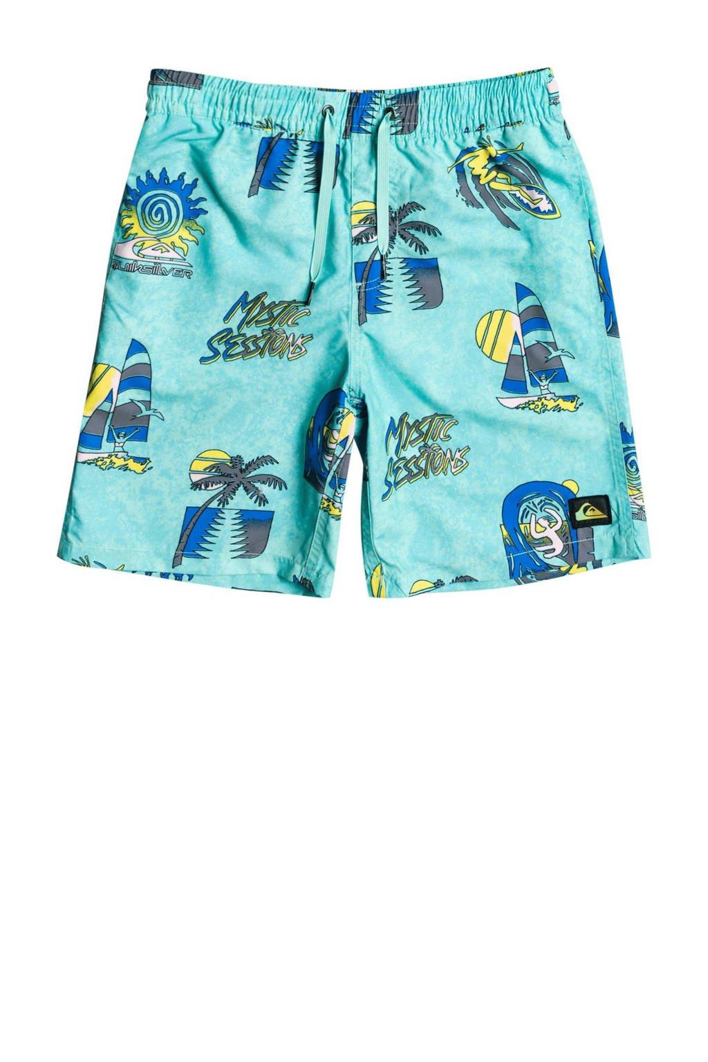 Quiksilver zwemshort Island Pulse met all over print lichtblauw/blauw/geel, Lichtblauw/blauw/geel