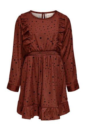 jurk KONMOLLY met all over print en ruches rood