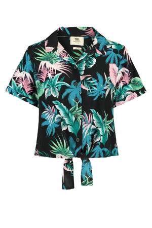 gebloemde blouse Brooke zwart/groen/blauw/roze