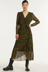 FREEQUENT maxi jurk FQRAMA-VIDA-PROG met all over print en volant zwart, Zwart