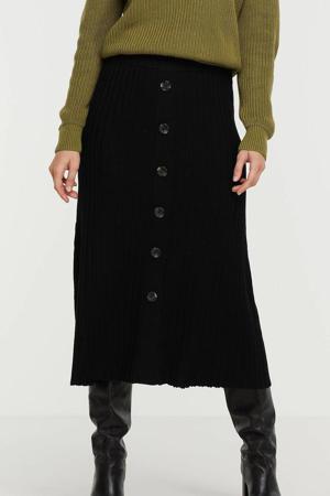 ribgebreide maxi rok zwart