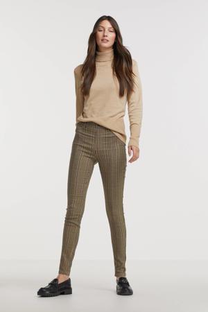 geruite skinny broek FQMIITO lichtbruin/zwart/rood