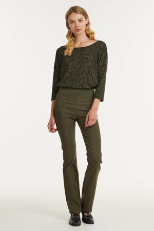 high waist flared broek FQSHANTAL-PA-BOOTCUT-POWER groen