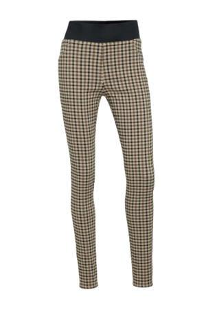 geruite high waist skinny tregging FQSHANTAL beige/bruin/zwart