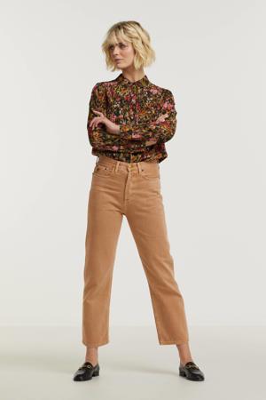 blouse Kesia met all over print zwart/ bruin