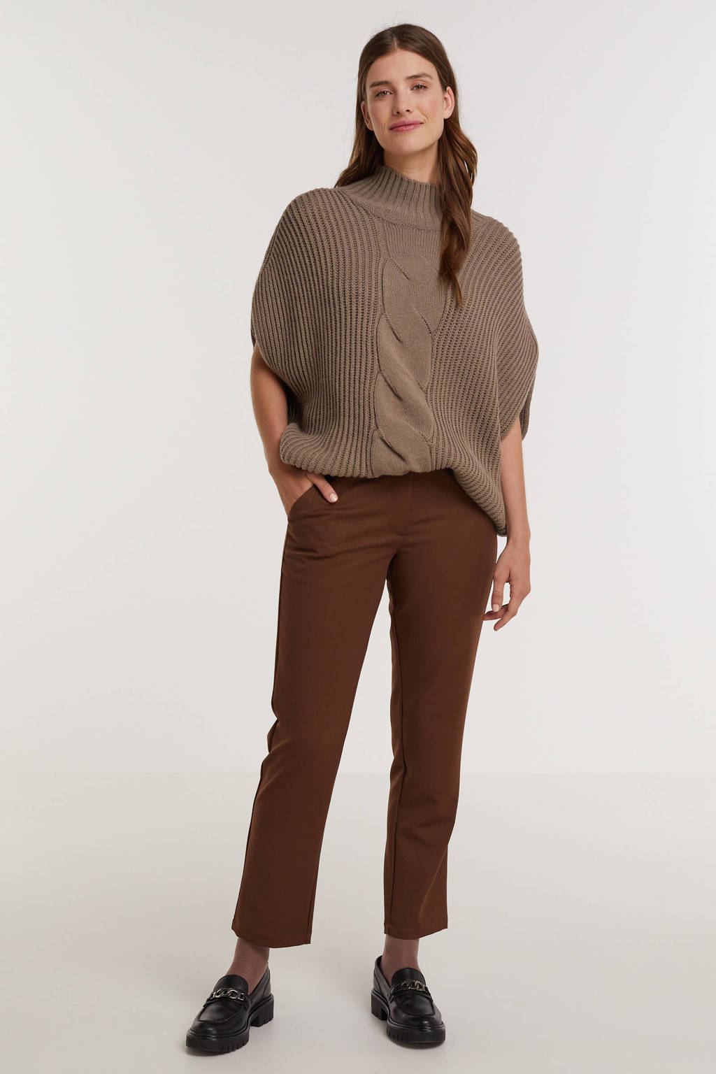 Minimum cropped straight fit pantalon Halle bruin, Bruin