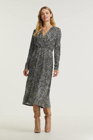 jurk Leosine met all over print zwart/ blauw