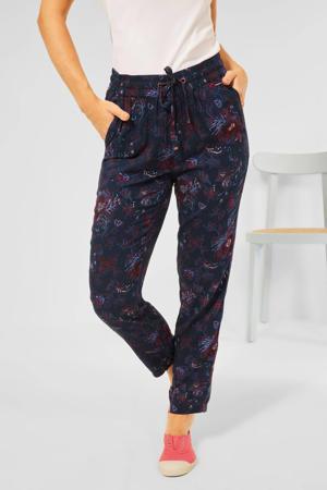gebloemde straight fit broek donkerblauw/rood