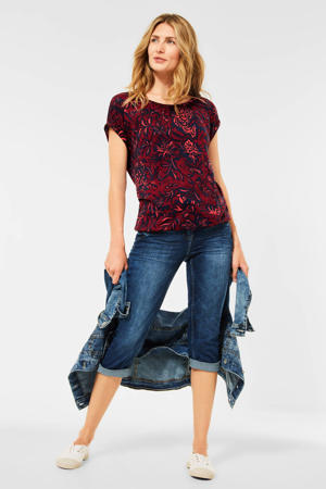 top met all over print rood/donkerblauw