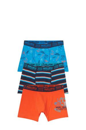 boxershort - set van 3 oranje/blauw