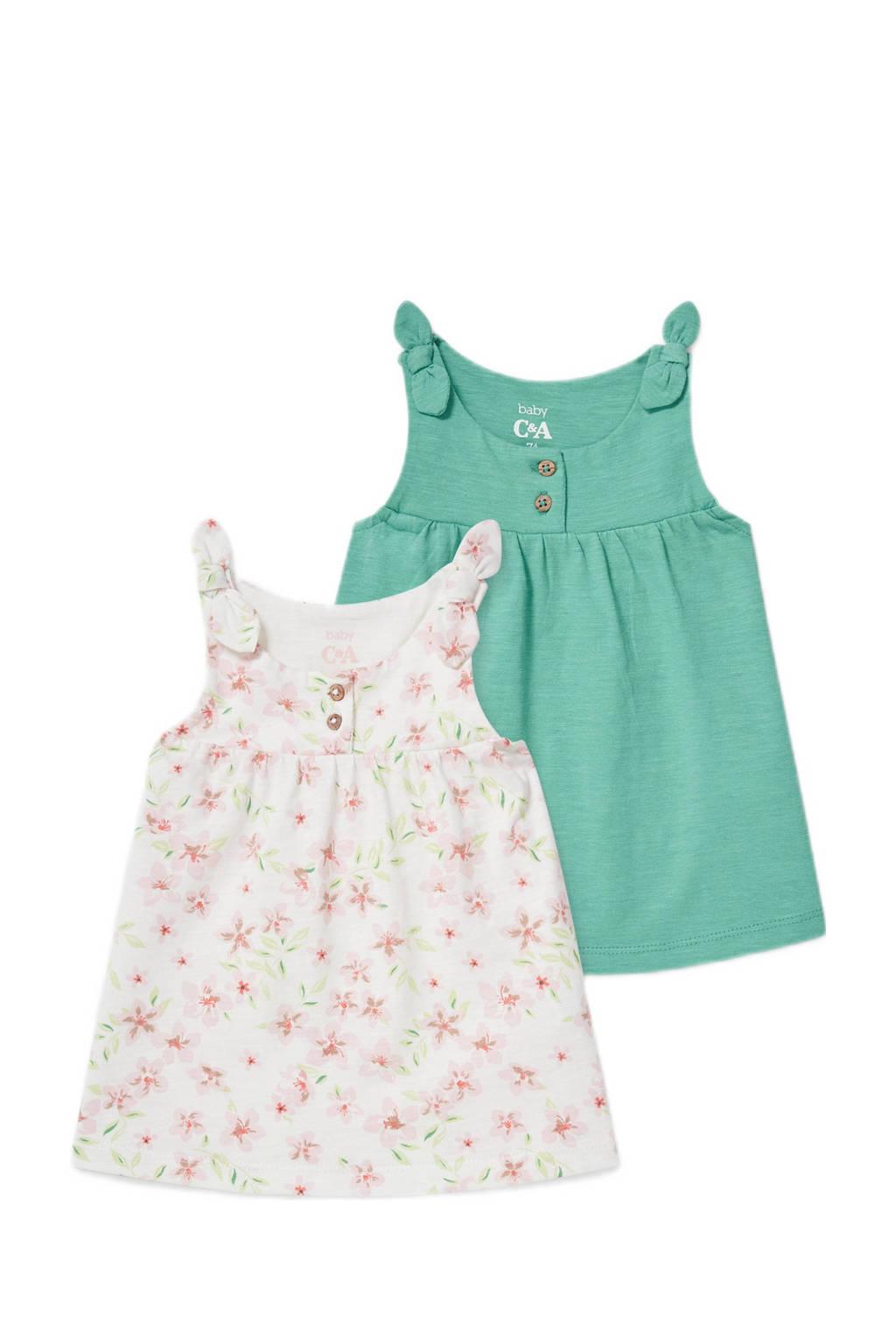 C&A Baby Club topje- set van 2 ecru/groen, Groen/ecru/roze