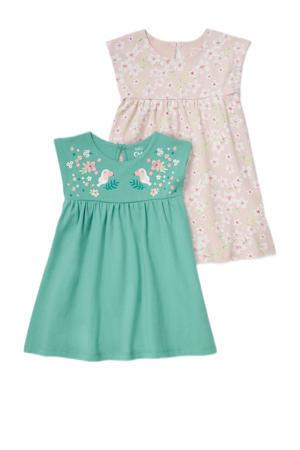 jurk - set van 2 groen/lichtroze