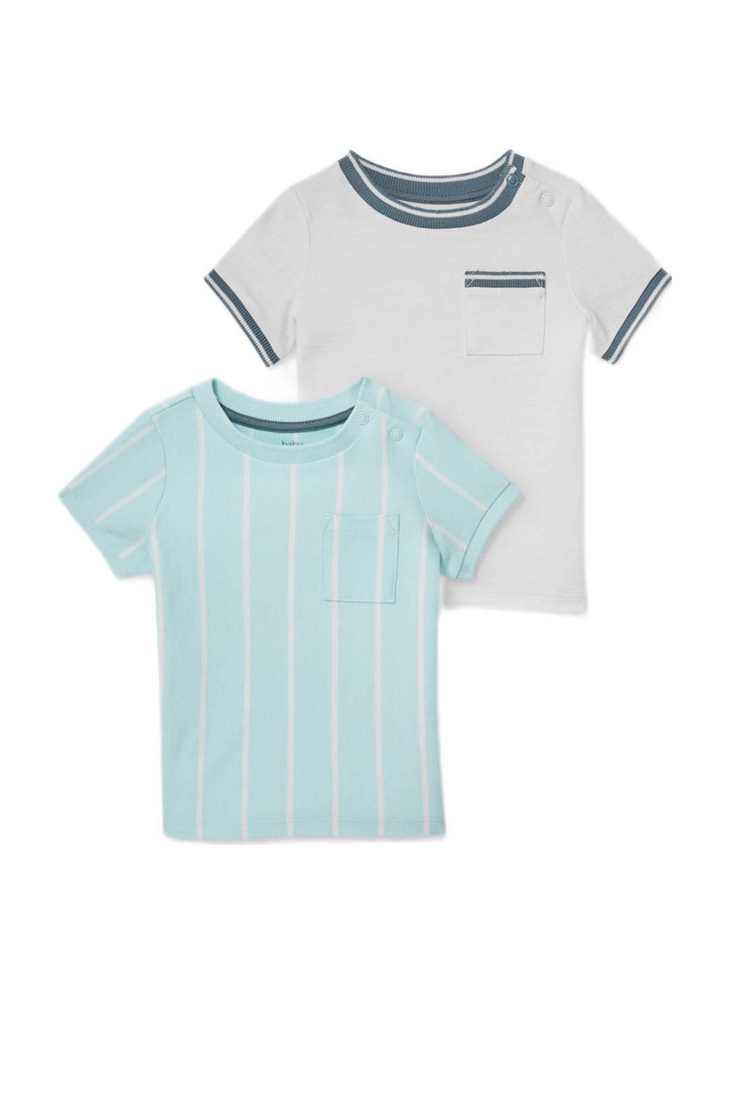 C&A Baby Club T-shirt - set van 2 lichtblauw/wit/donkerblauw, Wit/lichtblauw